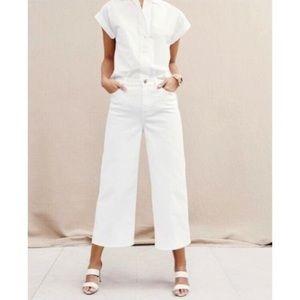 J.Crew Rayner wide leg white denim jeans